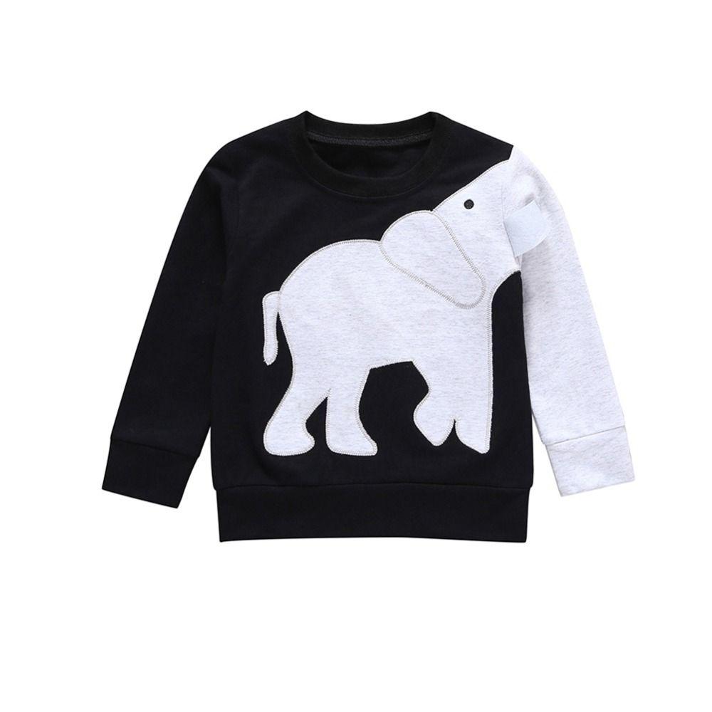 Garçon Bébé Printemps Motif éléphant animal manches longues en coton molletonné Casual Vêtements Vêtements tout-petits