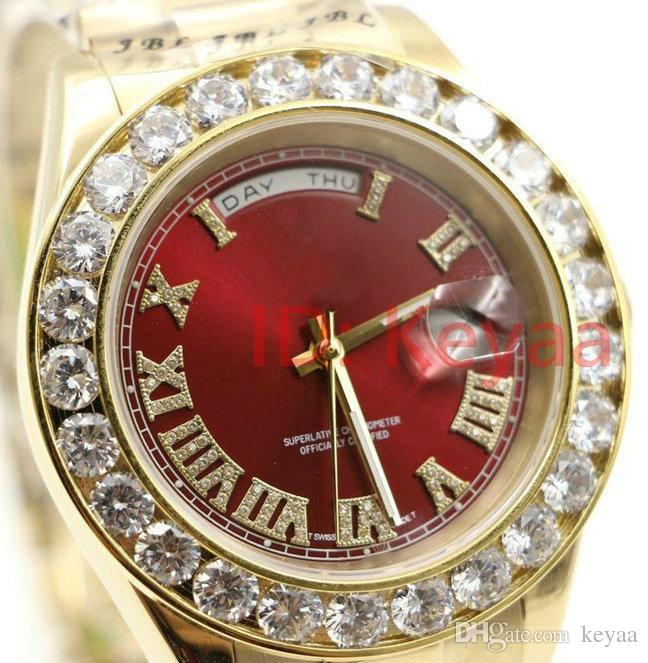 디자이너 다이아몬드 럭셔리 시계 A2813 18K mens President Day-Date 다이아몬드 시계 자동 무브먼트 사파이어 패션 기계식 손목 시계