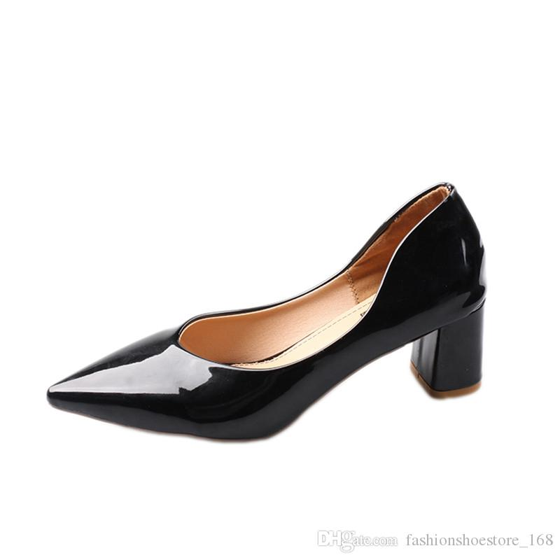 Pointed Heels Women Patent Leather Chunky Heel Pumps Women Shoes High Heel Wedding Shoes Shallow Mouth Comfort Ladies Office Shoes