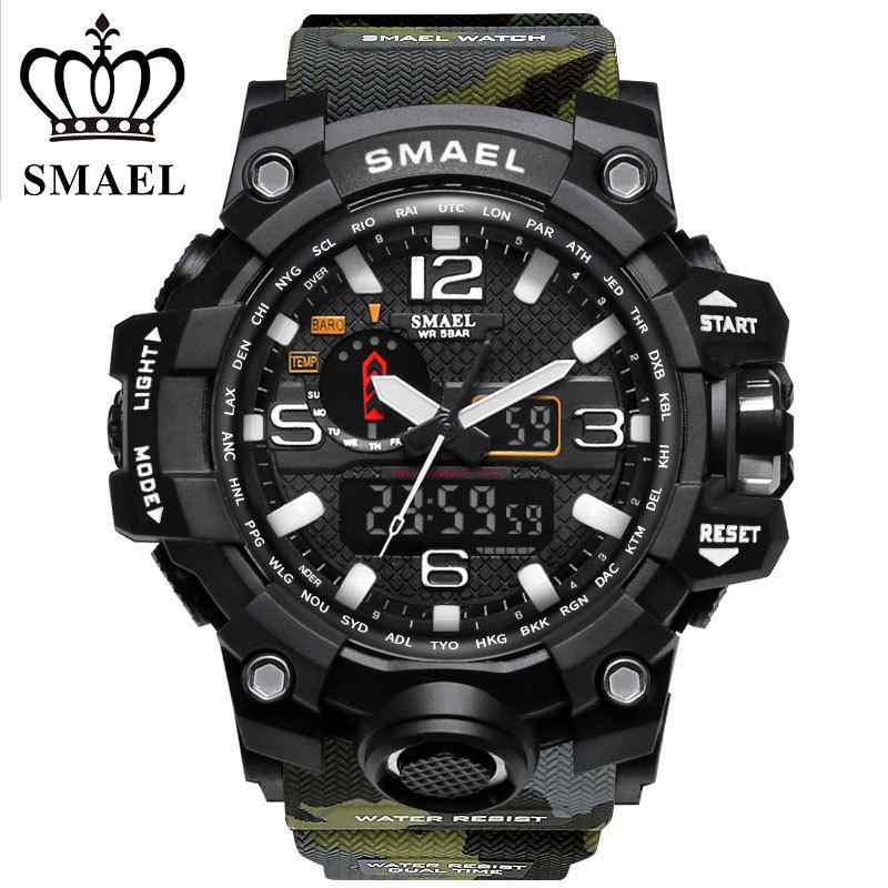 SMAEL Brand Sports Watches Men Dual Time Camouflage Military Watch Men Army LED Digital Wristwatch 50M Waterproof Men's Clock LY191213