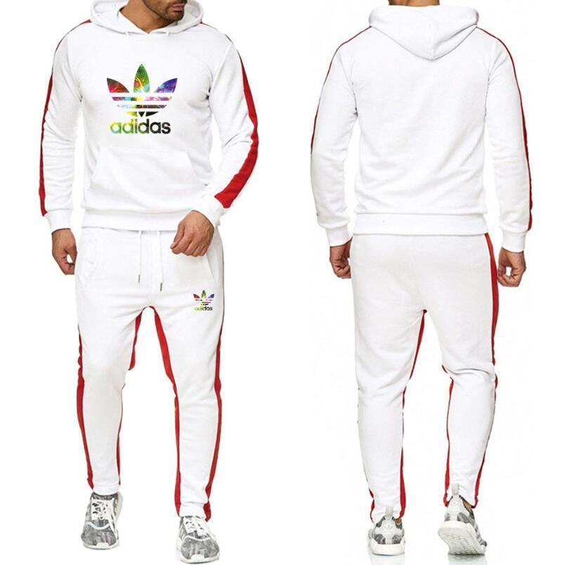 Envío gratuito Sweatsuit diseño del chándal de los hombres sudaderas con capucha + pantalones para hombre Ropa Casual camiseta del jersey del deporte del tenis chándales Sweat Suits