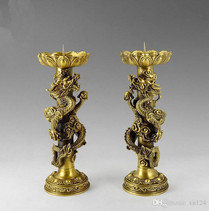 Dragon and Phoenix Chengxiang Candle Holder Pair of Pure Brass Antique Carved Lucky Fortune Home Furnishing Living Room Decoration