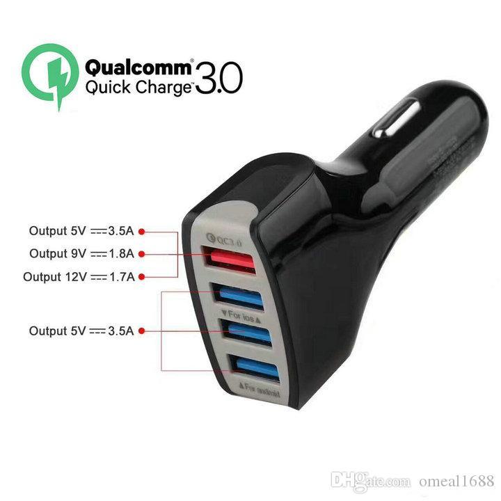QC الهاتف 3.0 خلية شاحن سيارة 4 USB ميناء سريع شاحن محول تهمة الذكية 12V الإضافية 3.1a للحصول على الروبوت سامسونج S10 ملاحظة 9 محول العالمي