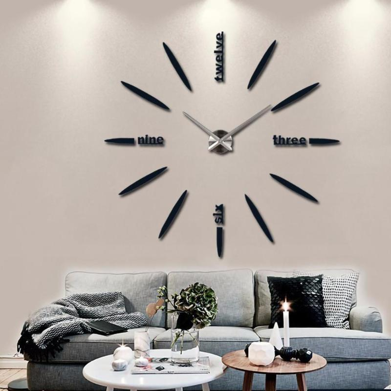 Dining Room Battery Operated PICK 3D DIY Mirror WALL CLOCKS for Home Kitchen