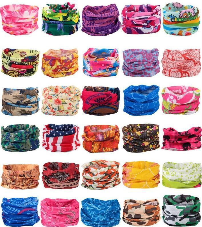 120 Styles Bandanas Scarves Multifunctional Outdoor Cycling Masks Scarf Magic turban Sunscreen Hair band Riding Cap Multi Styles FY4049