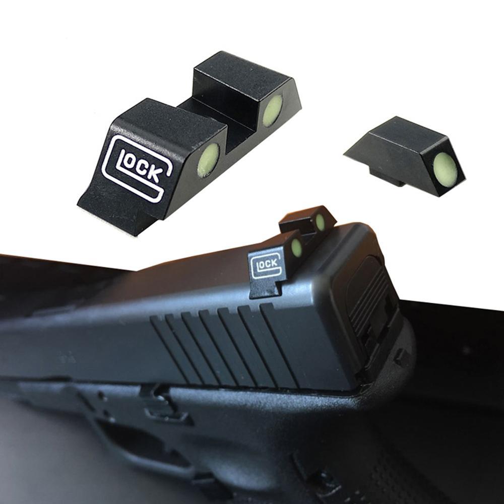 Tattica di caccia pistola pistola Glow in the dark vedere notturne anteriore e posteriore Sight Set Per G17, G19, G22, G23
