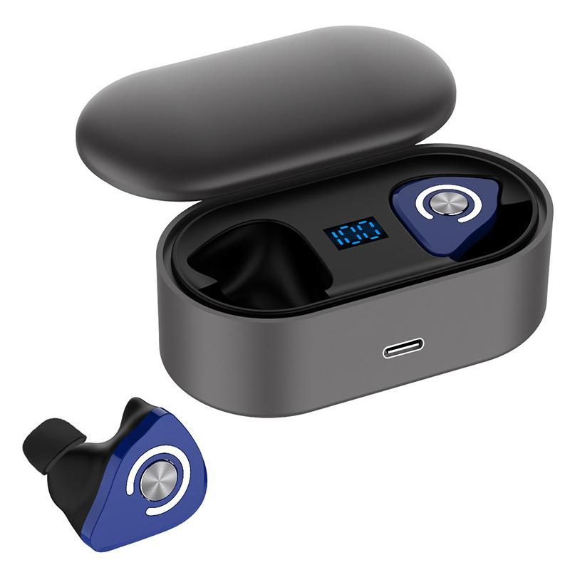 زوج واحد لاسلكية سماعات مع شحن صندوق بلوتوث 5.0 سماعة الكهربائية الكمية العرض الضوضاء الغاء سماعة TWS المحمولة