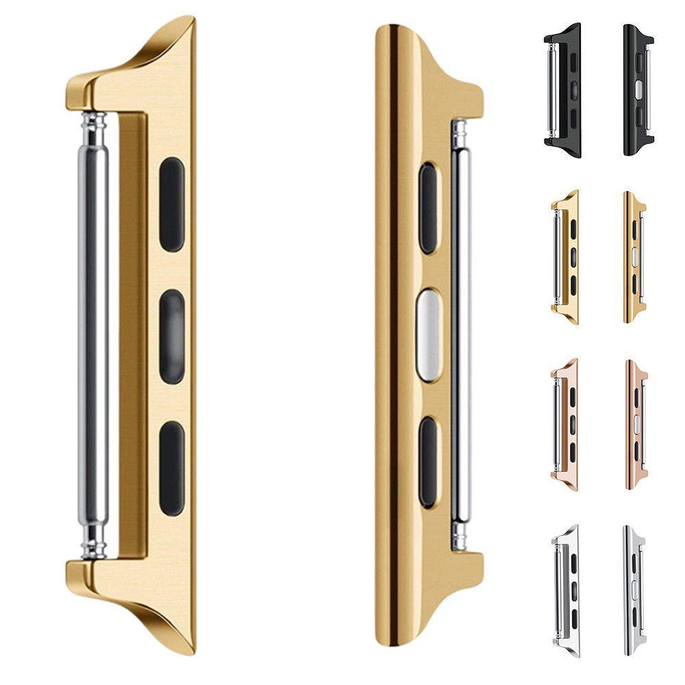 1 par adaptador DIY 1: 1 para Apple Watch Reemplazo del conector de la banda 38 mm 42 mm Banda de acero inoxidable para iWatch Series 1 2 3 adaptador Correa 2 piezas