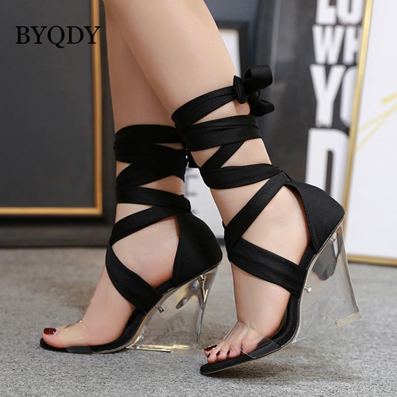 BYQDY progettista sandali di estate per le donne trasparente di cunei alti calza Croce cinturino alla caviglia Strap Lace Up Sandali Economici