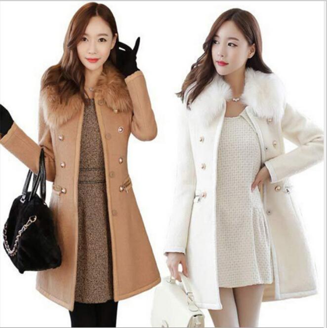 Automne et hiver version coréenne du col de fourrure de manteau mince manteau de laine mince double face double boutonnage coupe-vent