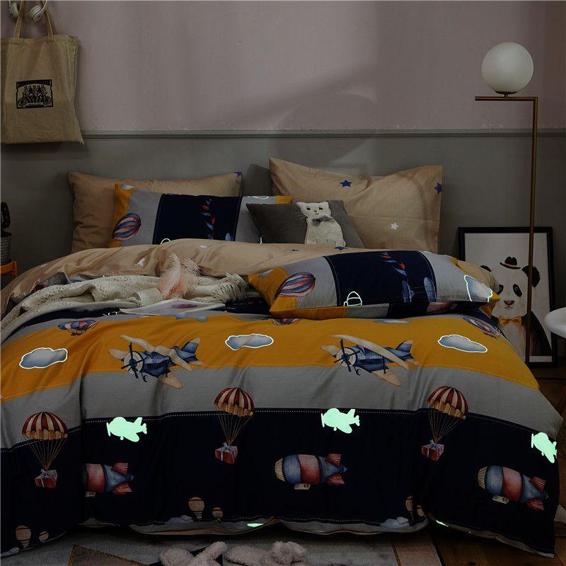 100%Cotton Soft Childens Boys Girls Luminous Glow in The Dark Blue Queen Twin size Bedding Duvet set Bed sheet set Pillow shams