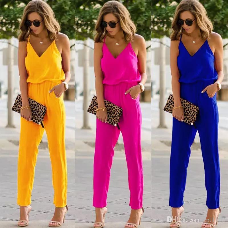 패션 디자인 밝은 색상 100 % 브랜드의 새로운 여성 스파게티 스트랩 넓은 다리 jumpsuit 브이 넥 장난 꾸러기 바지