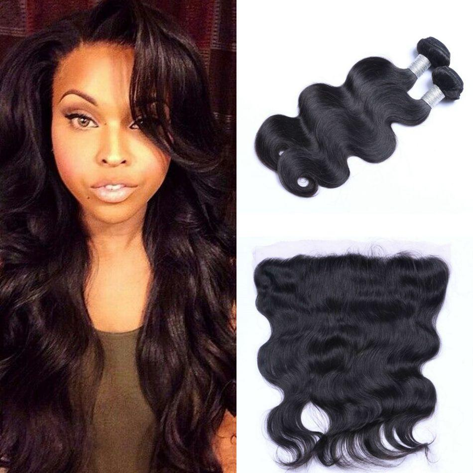 Malaysian Body Wave Hair Bundles with Lace Frontal 13*4 Natural Color 2 Pieces Human Hair Bundles with Closure