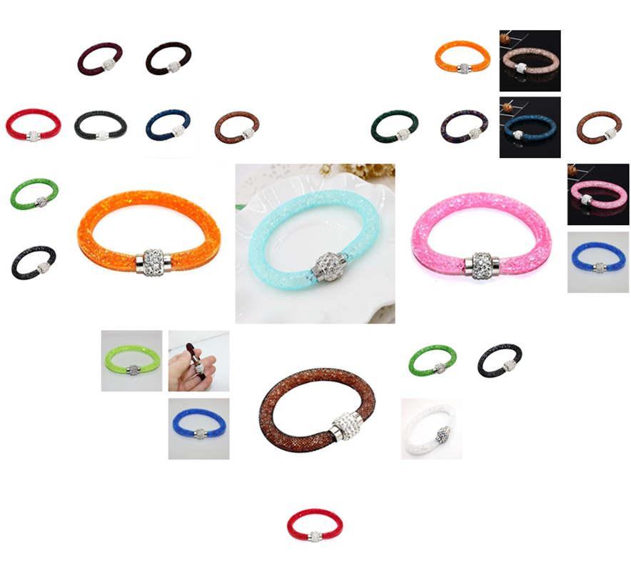 Los hombres vendedores calientes de las mujeres y pulseras de malla de malla individual de cristal pulsera magnética B013 Slap Snap pulseras brazalete de joyería