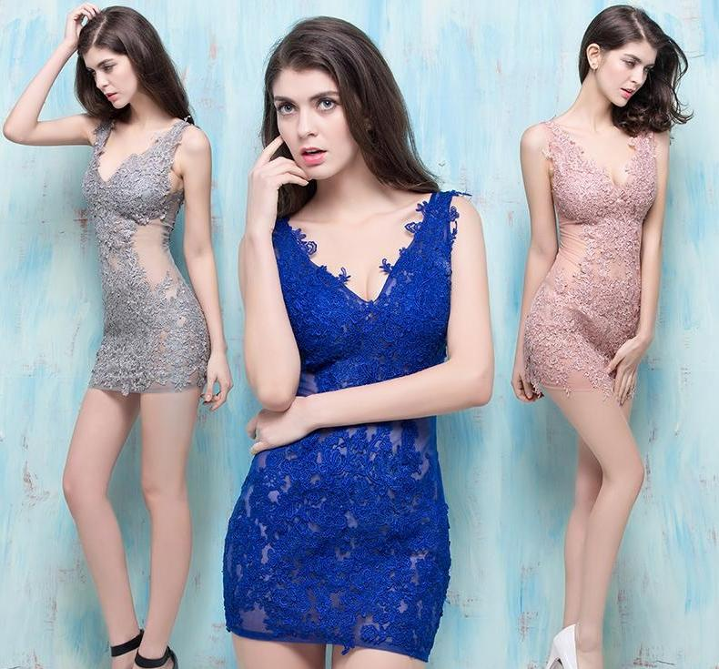 New Blue Net Yarn Decals Nightclub Sexy Perspective Women Summer Fashion Deep V Collar Package Hip Slim Skirt Night Prom Dresses Skirt