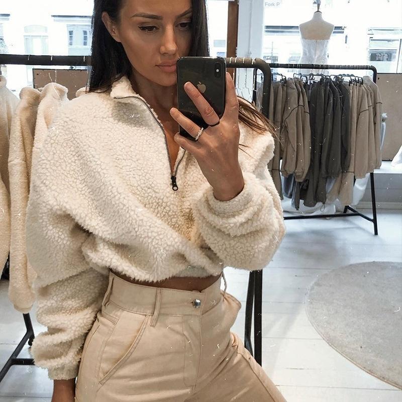 gündelik moda kuzu kadın kazak fermuar fjYN5 2020 ilkbahar ve yün Coat woolSweater woolwomen giyim Yeni ceket yaz