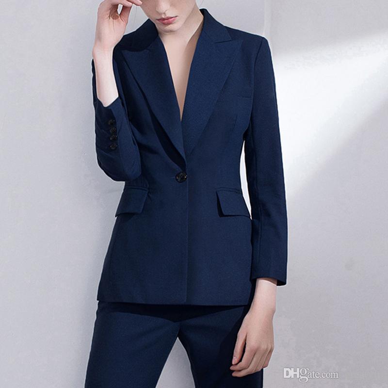 Темно-синяя мать невесты костюмы формальные женщины деловые костюмы смокинг Blazer для свадьбы (куртка + брюки)