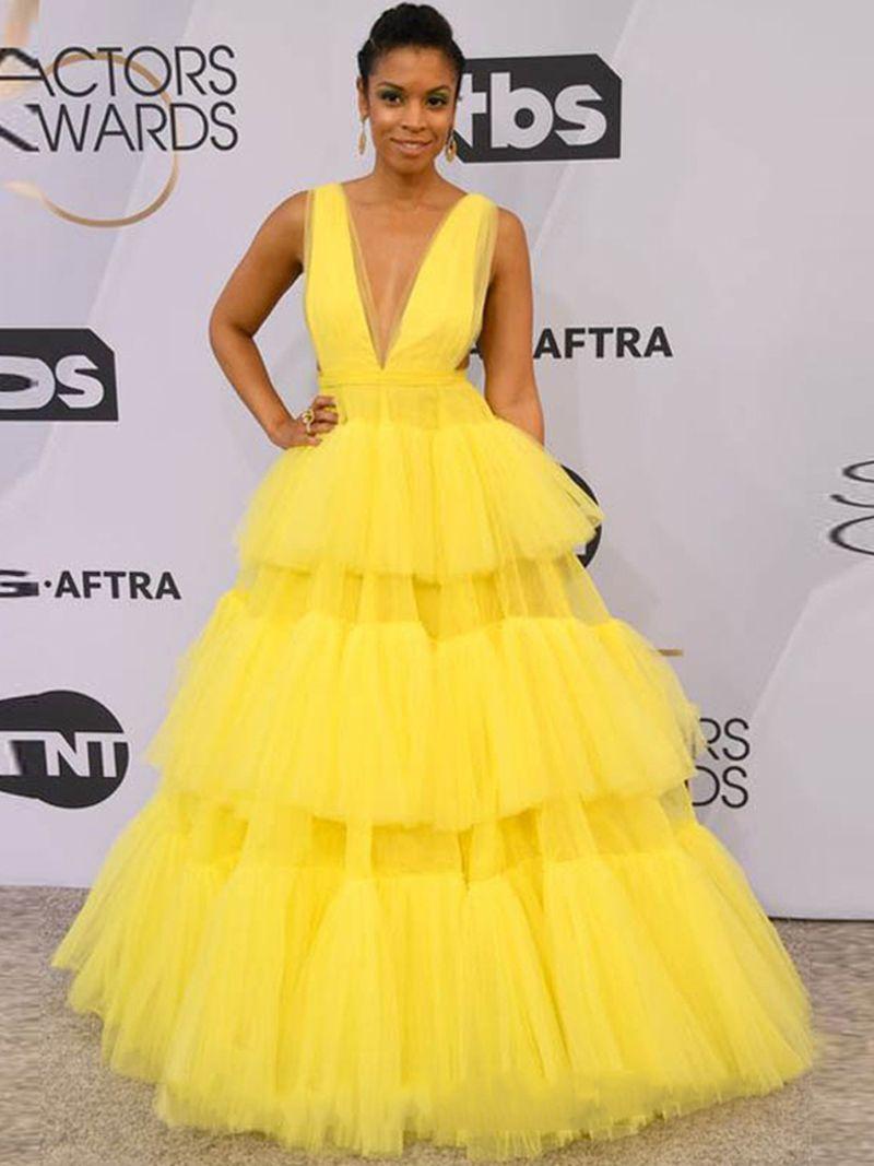 Une ligne de soirée longue robe de bal jaune sans manches robe de bal Robes de soirée Party formelle Robes