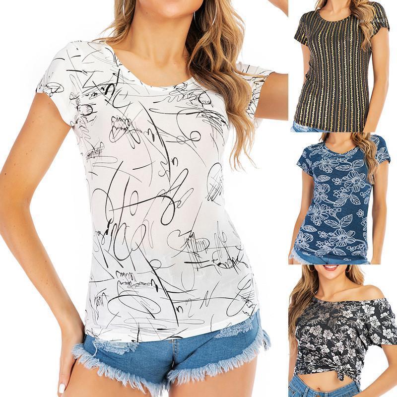 Stampa linea Slim maglietta casuale manica corta girocollo Famale Nuovo Tees estate delle donne