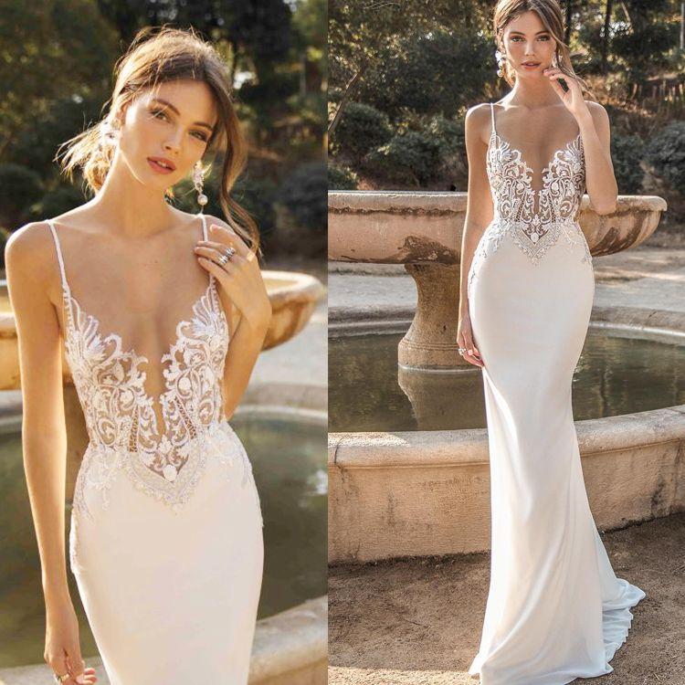 2019 Custom Made Berta Mermaid Backless Wedding Dresses Beaded Beach Lace Bridal Gowns Bohemian Plus Size A Line Wedding Dresses