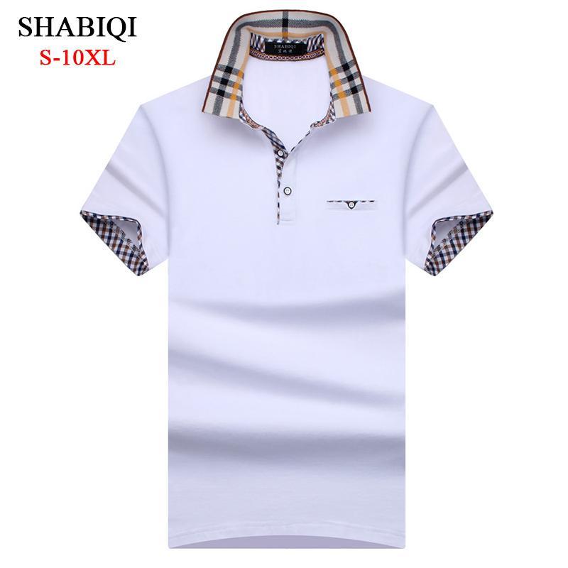 Shabiqi 새로운 브랜드 남자 짧은 소매 폴로 옷깃 포켓 폴로 셔츠 플러스 크기 6xl 7xl 8xl 9xl 10xl SH190718