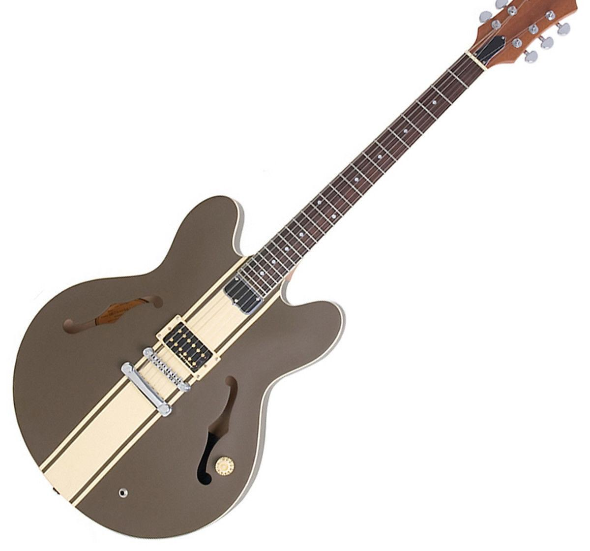 ES النادرة 333 توم ديلونج التوقيع ملزم شبه الجوف الجسم الذهب الأبيض الشريط الجاز الغيتار الكهربائي الجسم الأسود، لاقط واحد، الذهب HardwareRa