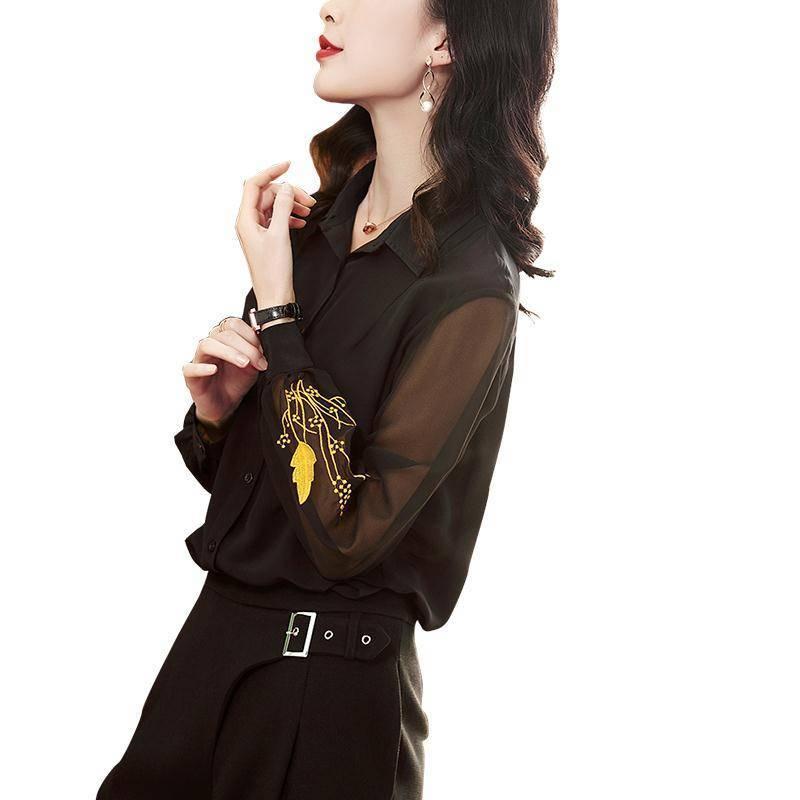 Женщина Черный шифон вышиванка 4 Плюс Размер Женской одежды Женские 2020 Лета новых длинные рукава Сыпучих вышивки Вверх