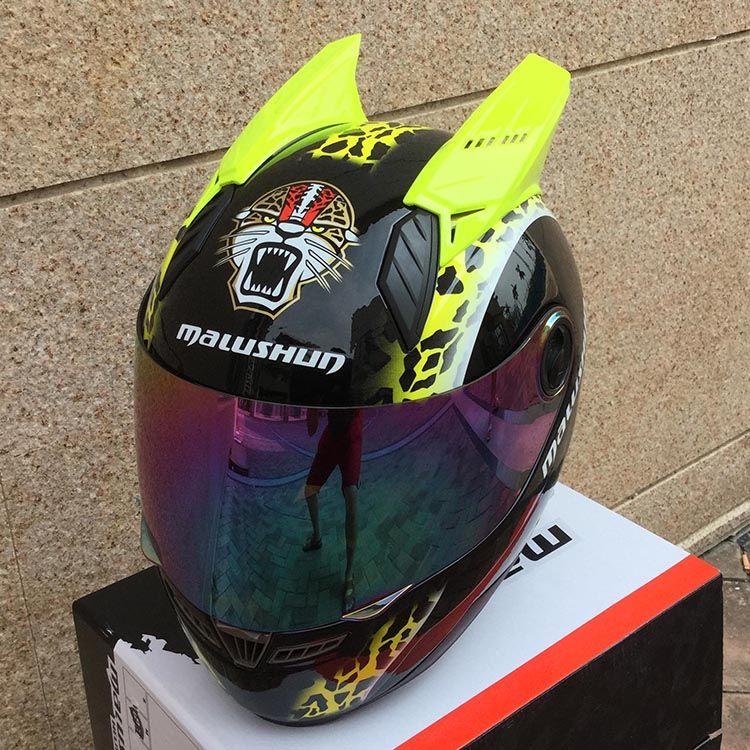 2019 the latest MALUSHUN motorcycle helmet The four seasons full face helmet horns helmet