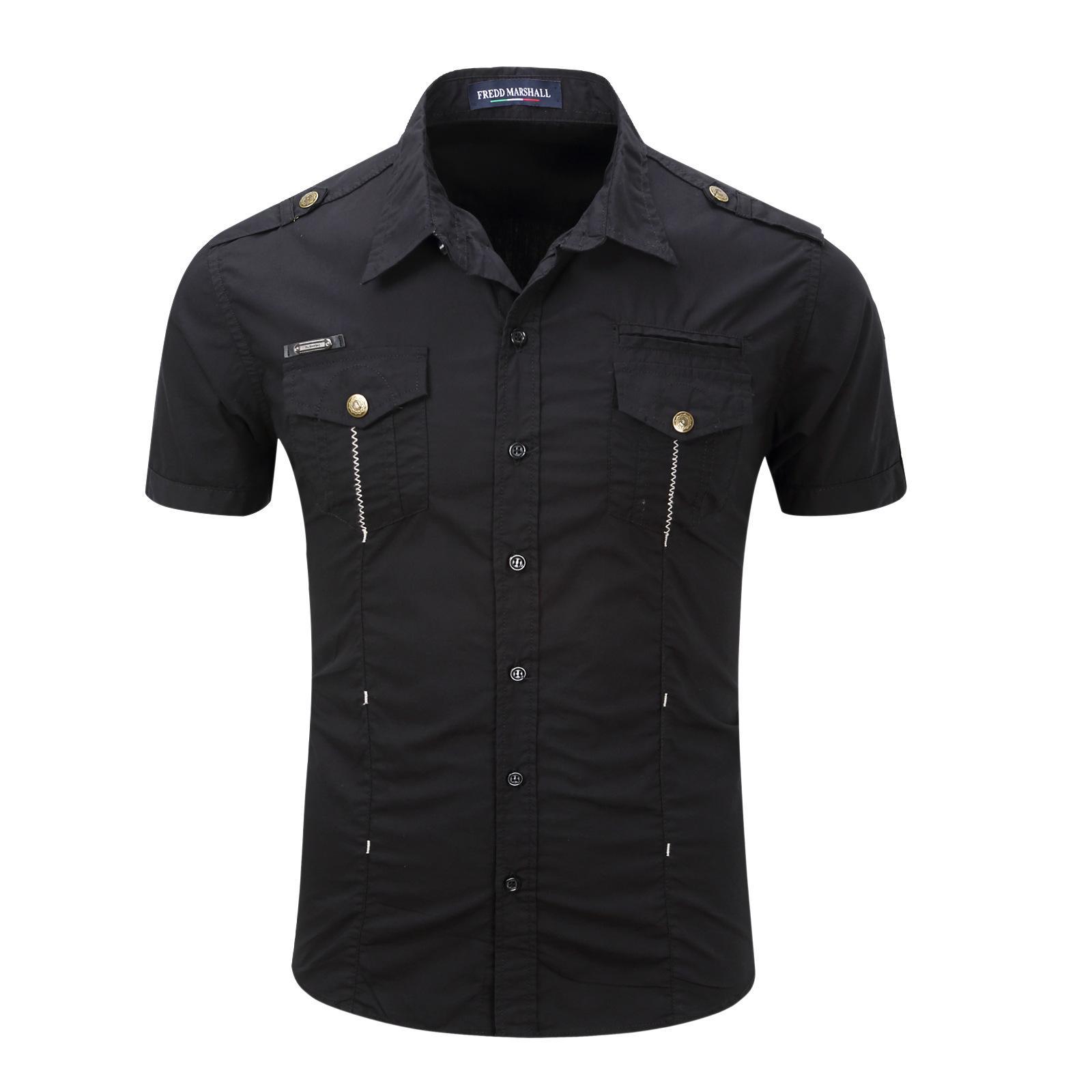 ارتفاع نوعية الرجال قصيرة الأكمام تي شيرت العسكري الموحد قميص في الهواء الطلق الرجال عادية 100٪ قطن بلوزة أبلى