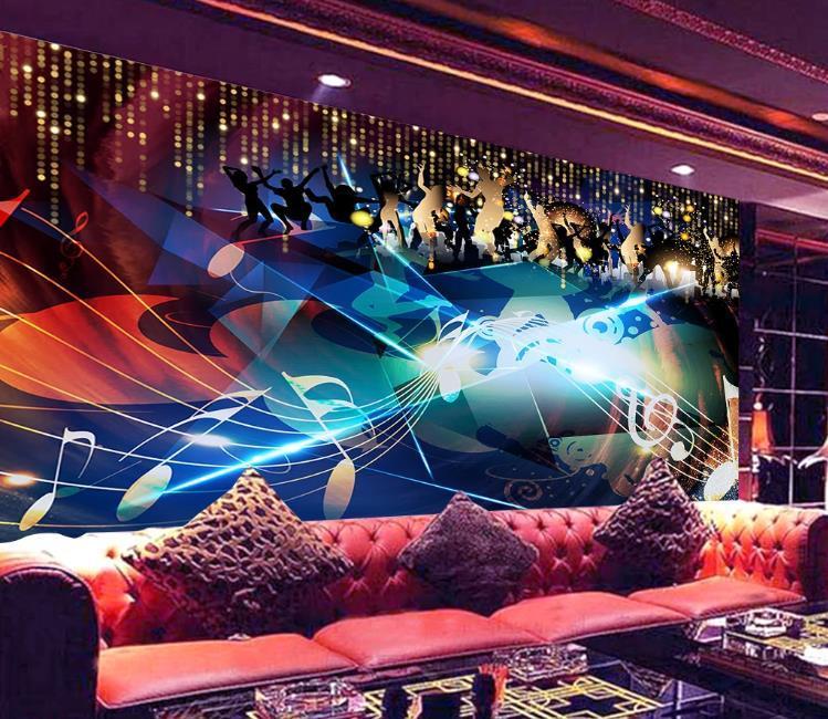Encargo cualquier tamaño de fondo de pantalla 3d mural fresco de la barra KTV discoteca de música papel tapiz de fondo decoración de pintura de la pared de la moda