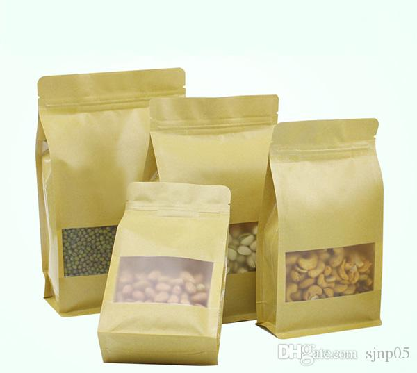 Kraft Paper Packing Bags with Clear Window for Dried Food Fruit Tea Snack Cookie Pouch Ziplock Packaging Bag Food Nuts Candy Packaging