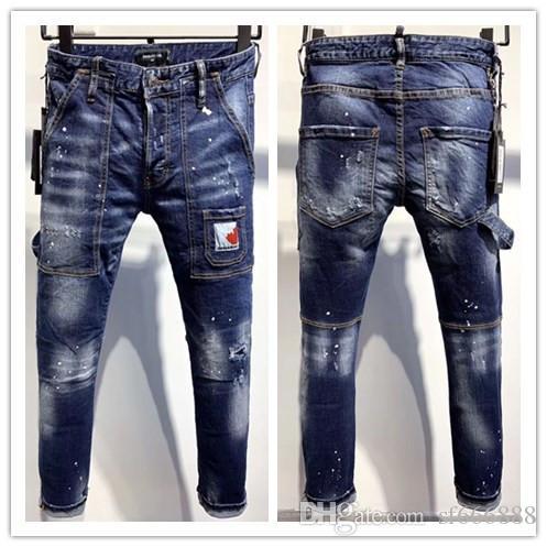 Die neue Marke Mode europäischen und amerikanischen Herren-Jeans sind Männer Casual Jeans Motorrad dünne Jeans Hand getragene 9636