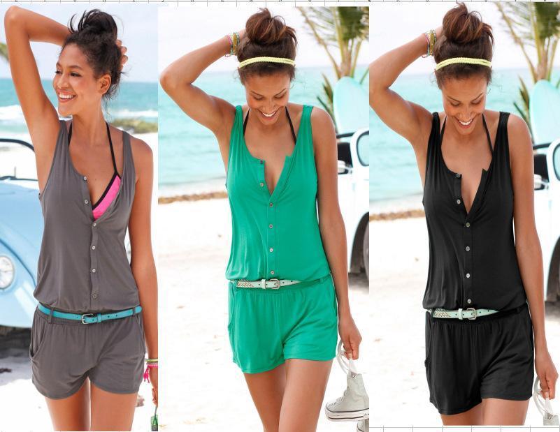 Sexy Summer Beach Женщины Romper Комбинезон шорты рукавов One Piece Короткие штаны костюм