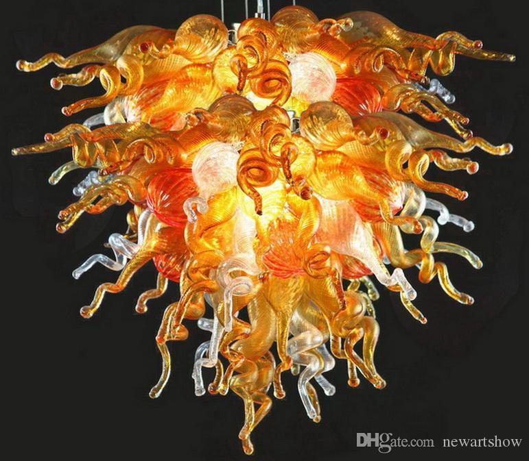 Precio al por mayor barato ámbar de la lámpara LED de ahorro de Fuente de luz Victorian del estilo de Dale Chihuly Soplado de techo de cristal de Murano Cadena
