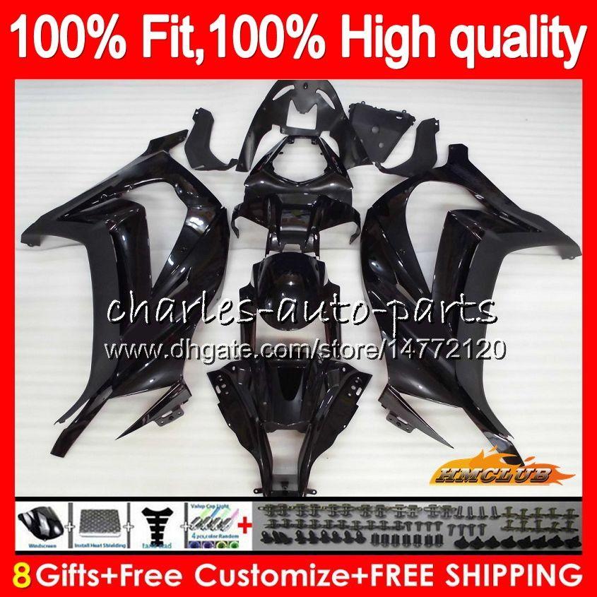 Injection For KAWASAKI ZX 10 R ZX1000 C glossy black ZX10R 11 12 13 14 15 46HC.53 ZX 10R 1000CC ZX-10R 2011 2012 2013 2014 2015 OEM Fairing