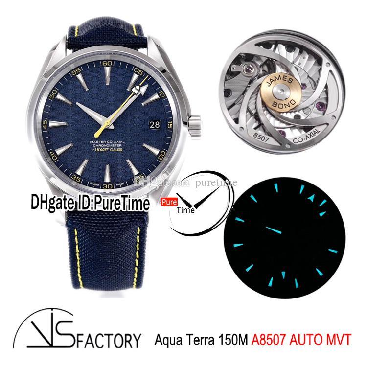 """VSF Aqua Terra 150M Gauss """"Specter"""" James Bond 007 A8507 Montre automatique Mens Bleu texturé cadran bleu en nylon 231.10.42.21.03.004 Puretime"""