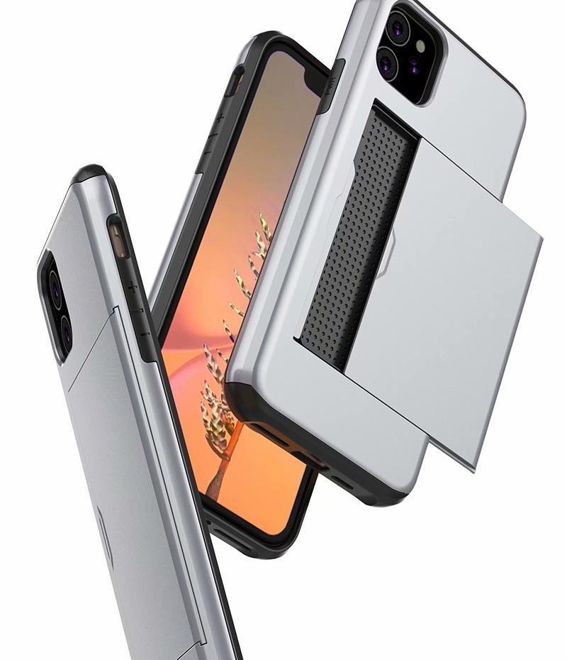 Ranura para tarjeta híbrida Armadura caso de la contraportada de TPU suave para el iPhone 11 Pro Max XS MAX XR 5S 6 7 8 PLUS Samsung S20 S20 Ultra PLUS PLUS S10 S10E