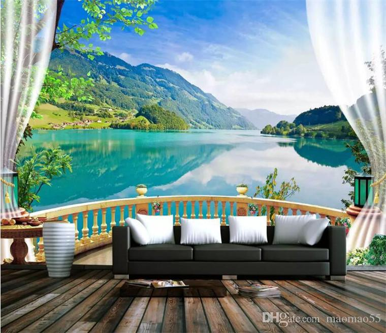 3D Wallpaper Balcony Blue Sky Lake Forest Nature Landscape Photo Wall Murals Living Room Bedroom Backdrop Wall Papel De Parede