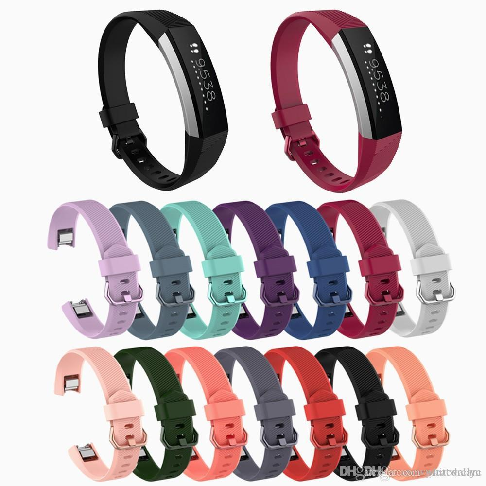 2019 새로운 대체 손목 밴드 팔찌 Fitbit Alta HR 용 손목 밴드 실리콘 스트랩 스마트 시계 팔찌 14 가지 색상의 걸쇠 스마트 액세서리