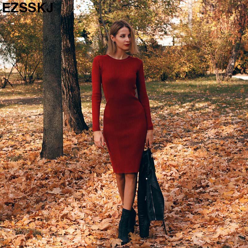 2019 Autumn Winter long Sweater dress women solid bodycon Thick dress Female Jumper O-neck slim basic knit dress Long sleeve T200107