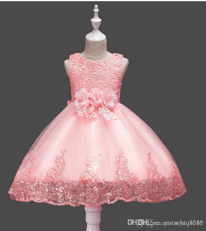 Princess Gold-Applikationen rosa Blumen-Mädchen-Kleider Jewel Ausschnitt Halbarm Tüll Ballkleid-Mädchen-Festzug-Partei-Kleid mit Schleife