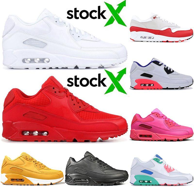 Новое поступление классические мужские 90 кроссовки тройной Белый Essential Red Stock X Yellow Pink OFF Women Black Sport Designer кроссовки Кроссовки