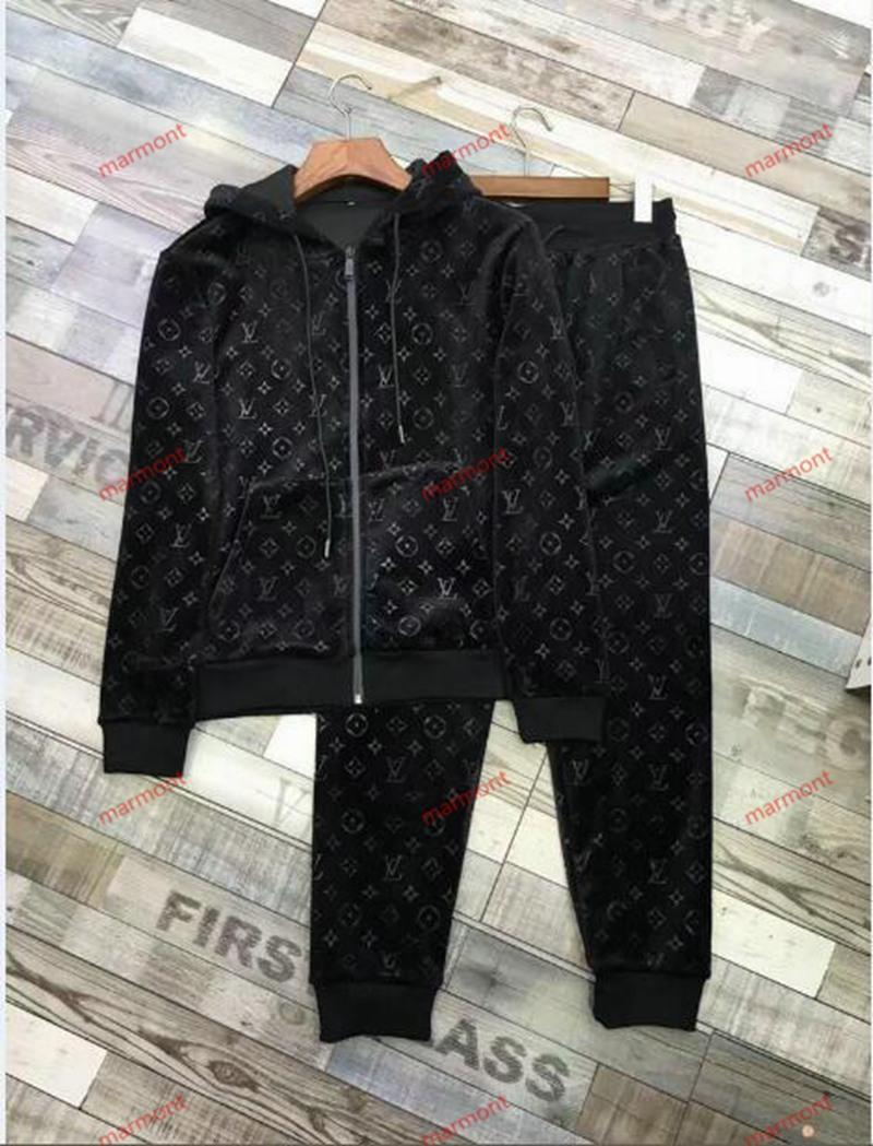 Louis Vuitton jacket slacks p marque de luxe à capuche + pantalon de sport Survêtements hommes Ensembles Survêtements 2PCS deportivo sport à capuche Jogger xshfbcl Costume Casual