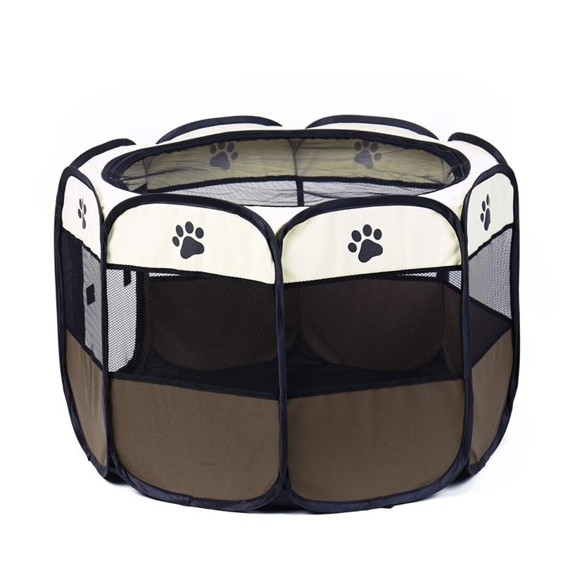 Portable Folding Pet Carrier Tent Dog House Playpen Multi-functionable Cage Dog Easy Operation Octagon Fence Breathable Cat Tent D19011201