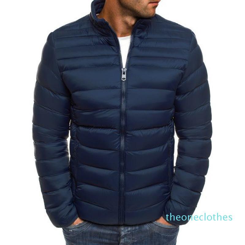 Mens Solid Designer d'hiver veste à manches longues chaud en bref Parkas avec fermeture éclair épais manteaux pour hommes Casual Wulong ky08