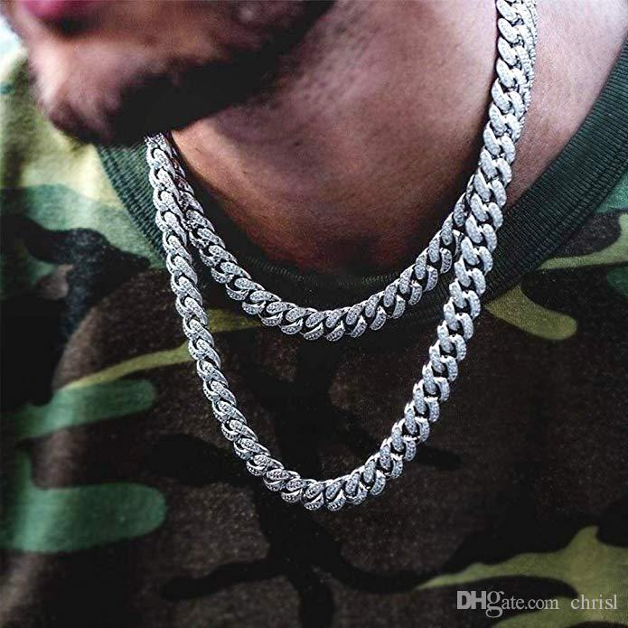 12mm Cuban Link Chain 14k Gold Iced Out Chains for Men Prong Setting CZ Stones Cuban Choker Chains