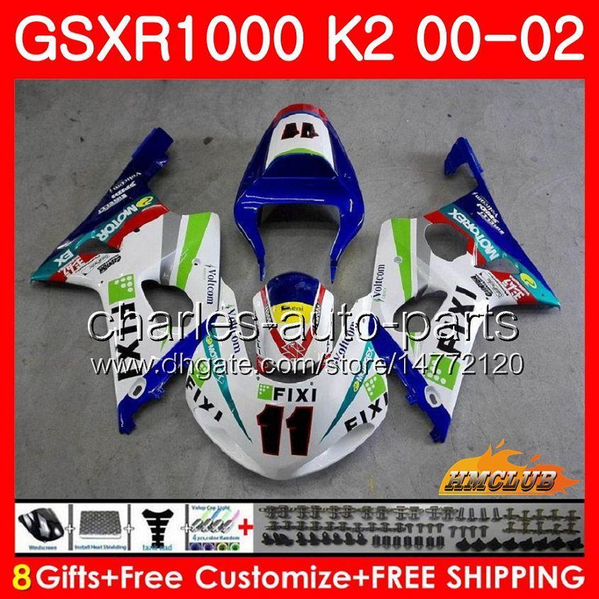 Quadro para Suzuki GSX-R1000 GSXR1000 K2 GSX R1000 00 02 Bodys Kit 14HC.8 GSXR-1000 GSXR 1000 00 01 02 2000 2001 2002 Corrida de carenagem Azul