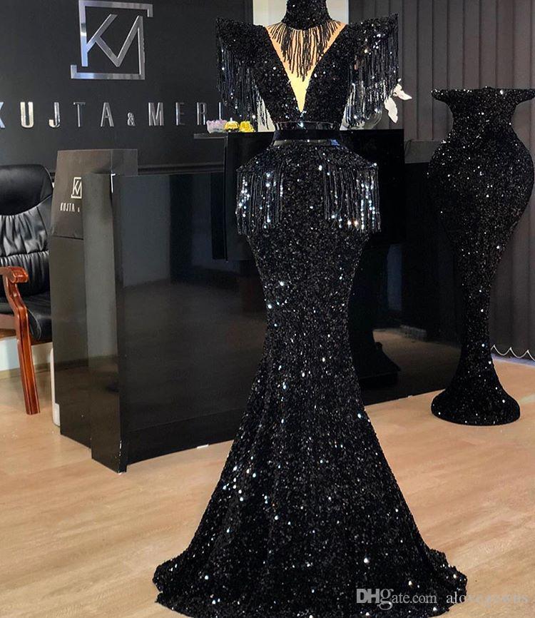 Schwarz Sequined elegante Nixe Abendkleid Ärmel Quasten Sexy Abendkleider formalen Partei-Kleid robe de Soiree Abendkleider