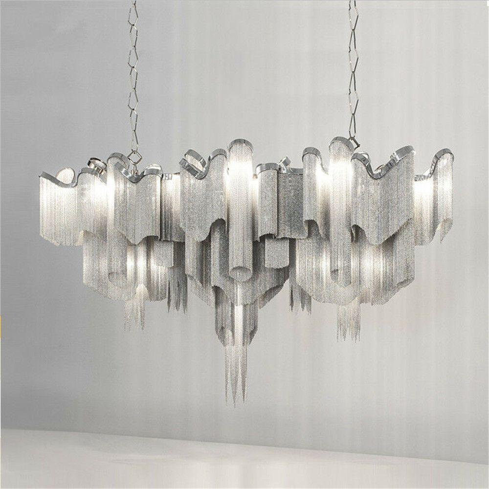 Современный дизайнер кисточкой цепи канделябра Ресторан Бар Villa Hotel Home Decor подвеска лампа Алюминиевый потолочный светильник PA0020
