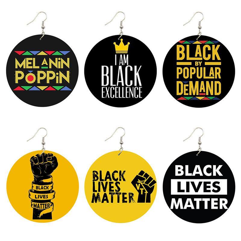 Lives noir Matière Dire Trendy femmes Imprimer Bijoux en bois naturel Boucles d'oreilles Mélanine Poppin Afro Fist Power Motif